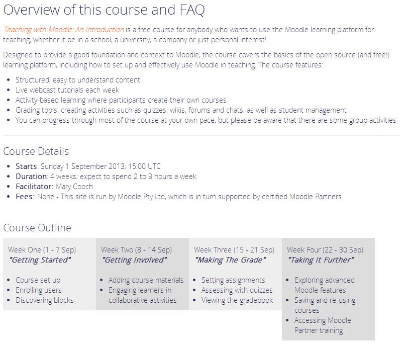 Teaching with Moodle  Overview of this course
