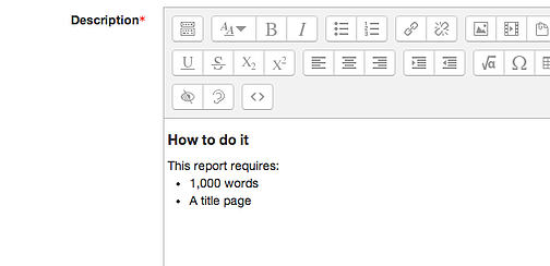 Moodle visual editor with content