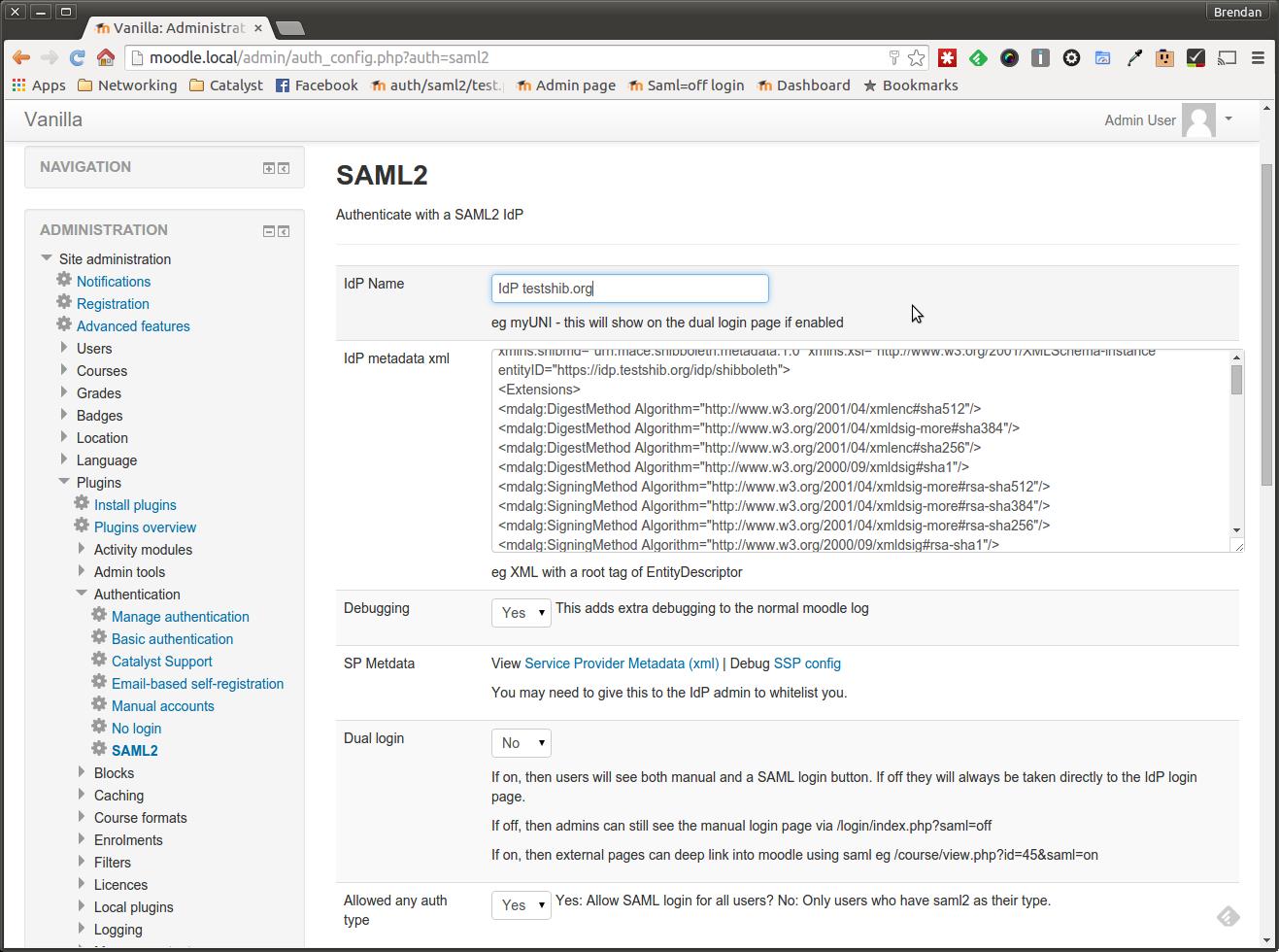 Moodle Plugin - SAML2 SSO Administration Plugins Authentication Settings