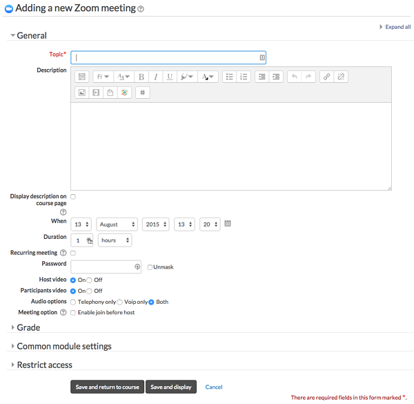 Moodle Plugin - Zoom Meeting Add a Meeting Setting