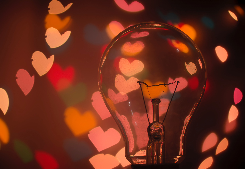 ideas for improving learner engagement - lightbulb with heart shape background